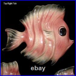 RARE 50s Vintage Ceramic Ceramicraft Fish Wall Plaques g/w Mermaid Bath Decor