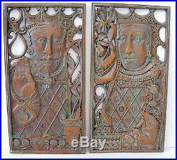RARE Pair of VINTAGE SYROCO WOOD KING & QUEEN Wall Plaque Syracuse USA 18 x 9.5
