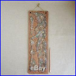 RARE Sascha Brastoff Mosaic Line Wall Plaque 1950s Pottery MCM Mayan Figure Vtg