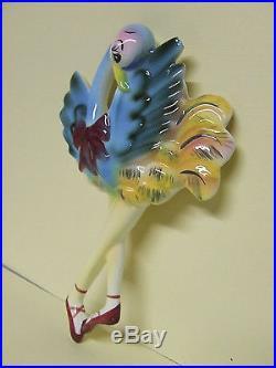 RARE/VHTF Vintage Anthropomorphic Ballerina Ostriches/Birds Wall Plaques