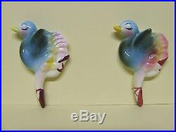RARE/VHTF Vintage Anthropomorphic Ballerina Ostriches/Birds Wall Plaques