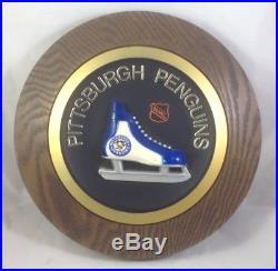 RARE VINTAGE 1970's Pittsburgh Penguins Skate Logo NHL Hockey 3D 14 Wall Plaque