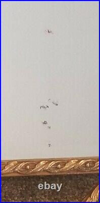 RARE VINTAGE LOUIS XV BEVELED WALL MIRROR w ORNATE GILT BRASS FRAME URNS FLOWERS