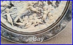RARE Vintage 26 Round INCOLAY Coralay CAMEO Wall Plaque Goddess of the Sun