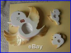 RARE Vintage Anthropomorphic Japan Lefton Yellow Mom 2 Baby BIRDS WALL Plaques
