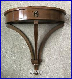 RARE Vintage Art Nouveau Mahogany Demilune Wall-Mounted Console Table with Mirror