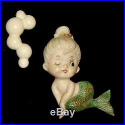 RARE Vintage BRADLEY MERMAID Porcelain Bisque WALL PLAQUE Hanging