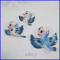 RARE Vintage Bluebird Wall Plaques Topline Imports Blue Birds Norcrest