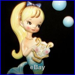 RARE Vintage CNC Mermaid Girl Wall Plaque Hanging Long Blonde Ponytail