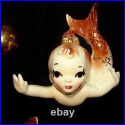 RARE! Vintage DeFoREst Mermaid Mom & Baby Wall Plaque Hanging Set Ceramic