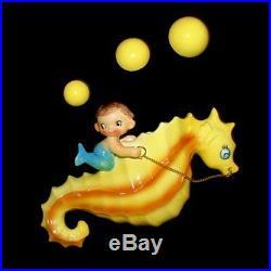 RARE Vintage Holt Howard Pixie Mermaid Merboy Seahorse Wall Plaque Pocket MOBY