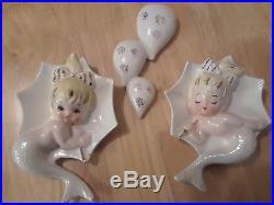 RARE Vintage LEFTON Ceramic Mermaid with Unbrella and raindrops Wall Plaque Figuri