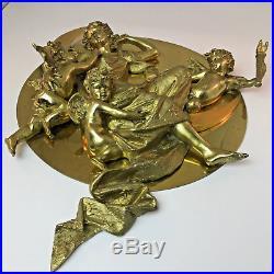 RARE! Vintage Large 3 D Brass Sculpture Wall Hanging Plaque Cherubs Angel Moon