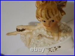 RARE Vintage Lefton Girl In Bathtub With Bubbles Wall Plaque