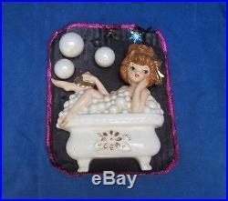 RARE Vintage Lefton MERMAID GIRL IN BATHTUB with BUBBLES WALL PLAQUE JAPAN