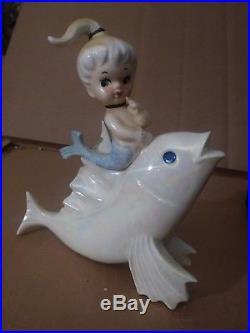 RARE Vintage Lefton Mermaid on FISH Wall Plaque PEARL withRHINESTONE EYE
