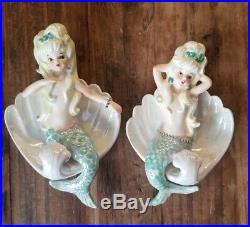 RARE Vintage Lefton Mermaids in shells wall plaques vintage figurine