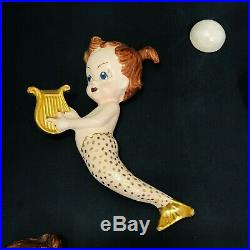 RARE Vintage Mermaid & Babies Chalkware Ceramic Wall Plaques Set Lot Gold Tails