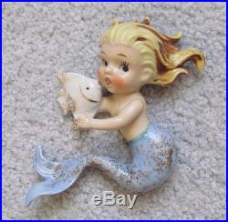 RARE Vintage NORCREST MERMAID BABY HOLDING ANGEL FISH Wall Plaque Porcelain
