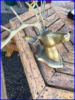 RESERVED Vtg Brass Deer Head Wall Mount & Vintage Teak Wood Ice Bucket with Lid