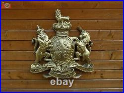 ROYAL COAT OF ARMS, VERY LARGE WALL PLAQUE. Queen Crest Warrant. Antique Gold