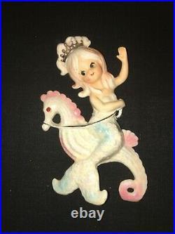 Rara Vintage Lefton Princess Mermaid Seahorse Fish Ceramic Wall Plaque Pocket