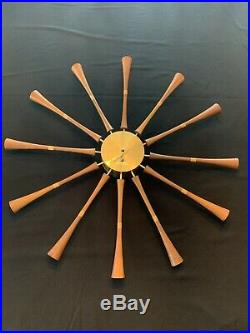 Rare 1957 Vintage Howard Miller/George Nelson Wood Spool/Spindle Wall Clock 2239