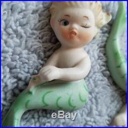 Rare 3 Vintage Bradley Lefton MERBABY Mermaid Wall Plaque Japan Figurine