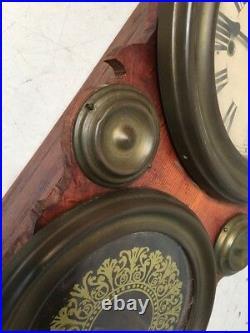 Rare Antique Figure 8 Wall Clock Brass Covered Doors Japanese Copy of Waterbury