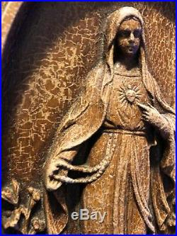 Rare. Antique/Vintage Blessed Virgin Mary Wall Plaque. Bas Relief- 3D Form
