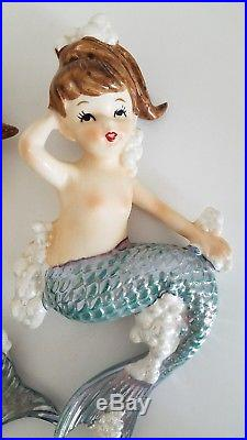 Rare Mermaid Wall Plaque Hanging Set of 2 Vintage with Bubbles