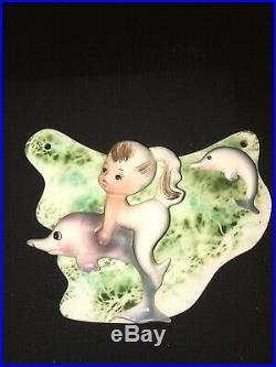 Rare Mint Vintage Enesco Mermaid Dolphin Starfish Seahorse Fish Wall Plaque Set