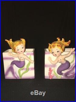 Rare Mint Vintage Mermaid Girl Wall Pocket Planters Plaque Fish Norcrest Ceramic