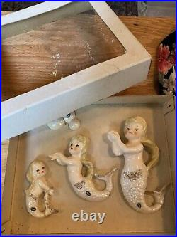 Rare Mint Vintage Norcrest Porcelain Mermaids Nude Girl Fish Wall Plaque Pocket