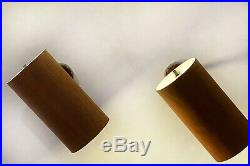 Rare Pair VTG MCM Modern Oscillating Brass Wood Cylinder Wall Sconce Fixtures