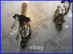 Rare VINTAGE ORNATE Classic SOLID BRASS WALL Electric Pair of SCONCES appliques