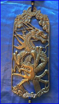 Rare Vintage (2) Chinese Asian Heavy Brass Metal Tiger & Dragon Wall Plaque