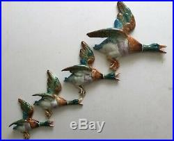 Rare Vintage 4 Flying Ducks Wall Plaques Retro Beswick Style 50s Kitsch