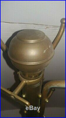 Rare Vintage Antique Industrial Barber Shop Brass Coat Rack Tree Wall Mounted