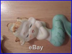 Rare Vintage BRADLEY Ceramic MERBABIES Wall Plaque Figurines