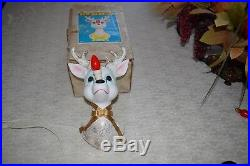 Rare Vintage Christmas Rudolph Reindeer Wall Plaque light lamp figurine, Japan