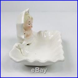 Rare Vintage Enesco Ceramic Mermaid Trinket Dish Wall Pocket Plaque Figurine