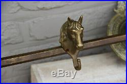 Rare Vintage French Equestrian Brass Wall coat rack hangers horse
