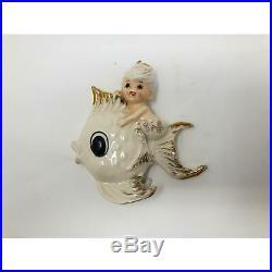 Rare Vintage Lefton Mermaid Riding on Fish Wall Plaque