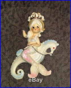 Rare Vintage Lefton Mermaid bathroom fish wall plaques decor ceramics Japan