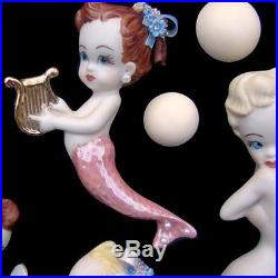 Rare Vintage Mermaid Wall Plaque Set with Curls & Flowers signed & dated 1969