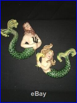 Rare Vintage Mermaid Water Sprite Merman Neptune Wall Plaque Ceramic Arts Studio
