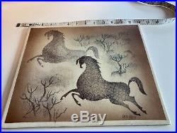 Rare Vintage Mid Century Sascha Brastoff Art Pottery Wall Plaque / Tile Horses