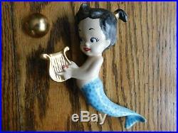 Rare Vintage Mom & Babies Ceramic Mermaid Wall Plaque Hanging 7 Pc Set & Bubbles