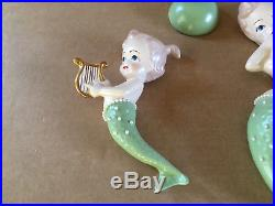Rare Vintage Mom & Baby Ceramic Mermaid Wall Plaque Hanging Set with Bubbles